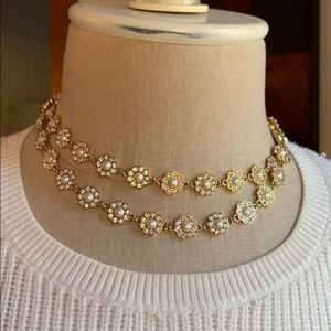 Kate Spade Gold/Pearl/Rhinestone Flower Necklace